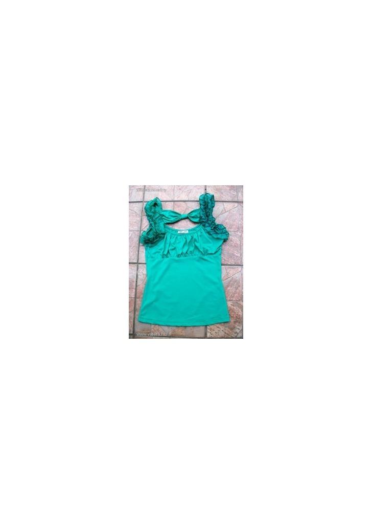 242c30ea07 zöld fodros selymes sztreccs szexi top felső - Vatera, 500 Ft
