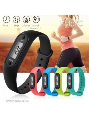 Szilikon LCD 12 féle szín Sport Fitnesz Lépésszámláló Kalória megtett út  mérő óra női férfi Uniszex 9f458daa3c