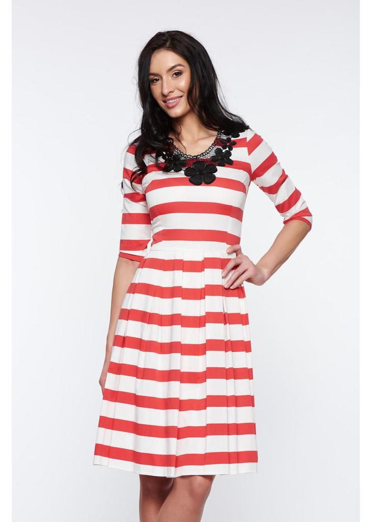 a278961edf Piros Artista hétköznapi harang ruha kötött csipke enyhén elasztikus