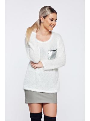 Fehér hétköznapi kötött pulóver flitteres díszítés - starshiners.hu 80af78dcbd