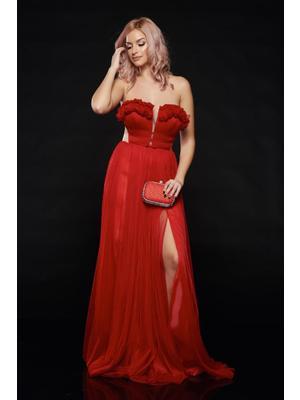 Piros Ana Radu hosszú alkalmi ruha szivacsos mellrész - 5c204b7c1f