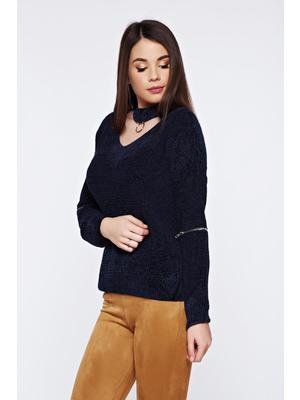 Kék hétköznapi bő szabású kötött bársony pulóver - starshiners.hu 9e78bbd30d