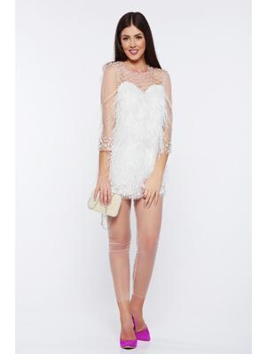 6e21ff1c68 Fehér Ana Radu alkalmi női szett gyöngyös díszítés gyöngy díszítéssel