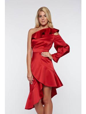 Piros Ana Radu egy vállas alkalmi szatén ruha asszimmetrikus szabással     lejárt 937313 7a15cf306b