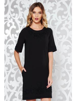 e8e6d627df Fekete LaDonna elegáns zsebes egyenes ruha hímzett betétekkel enyhén  rugalmas anyag
