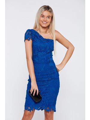 c25d5a62de Kék alkalmi ceruza ruha csipkés anyag belső béléssel - starshiners.hu,