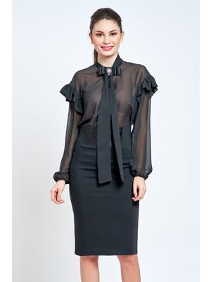 70e98bb45d Fekete PrettyGirl elegáns bő szabású női ing lenge, áttetsző anyag <<  lejárt 520216