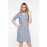 Szürke StarShinerS elegáns hímzett ruha enyhén rugalmas szövet egyenes  szabás d5c8705407