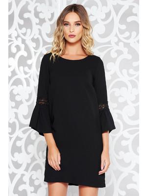 5d43dfc8ac Fekete StarShinerS ruha elegáns rugalmatlan szövet belső béléssel bő szabású