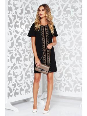 9d9dd2d0ae Fekete StarShinerS elegáns bő szabású ruha csipke díszítéssel << lejárt  421661