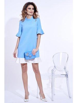 9c88520ddc Világoskék PrettyGirl elegáns bő szabású ruha enyhén rugalmas anyag fémes  kiegészítővel << lejárt 326474