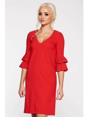1cfd0220b6 Piros StarShinerS irodai bő szabású ruha enyhén rugalmas szövet ráncolt  ujjak