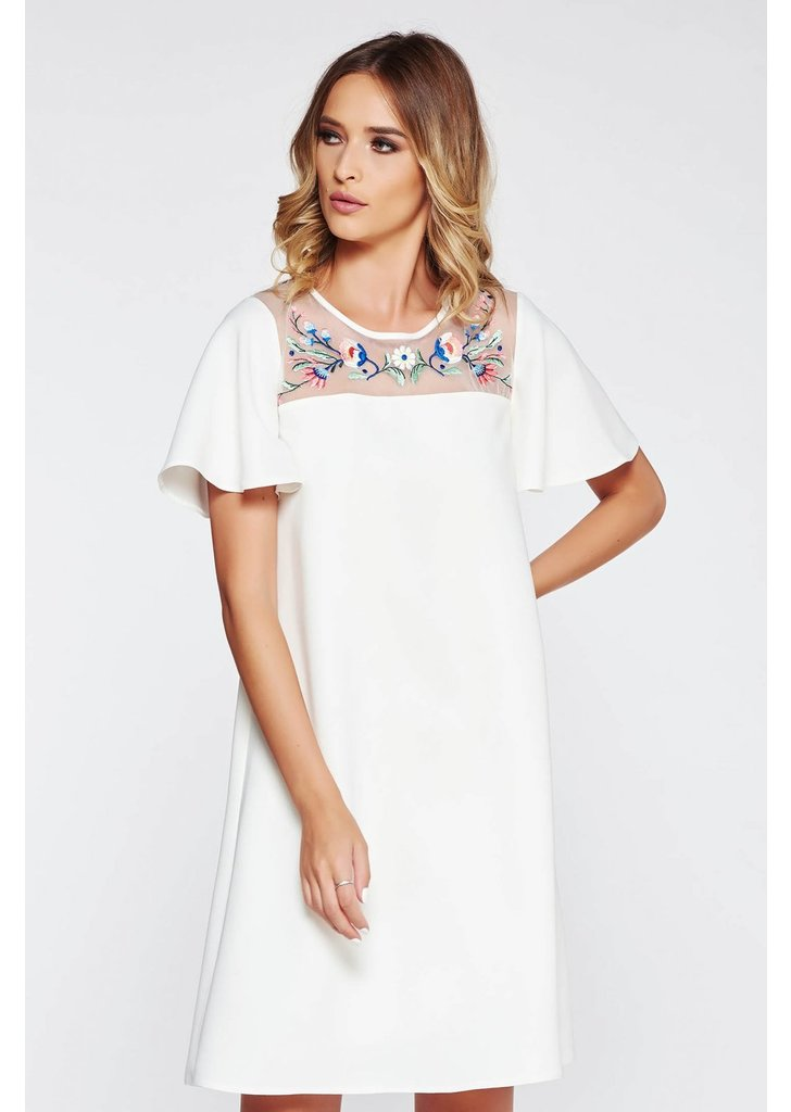 881b362050 Fehér StarShinerS bő szabású hímzett ruha belső béléssel rugalmatlan
