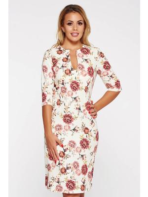 ca74411417 Krém PrettyGirl elegáns ruha v-dekoltázzsal pamutból készült virágmintás  díszítéssel << lejárt 724730