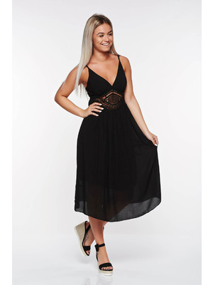 Fekete SunShine hétköznapi bő szabású ruha lenge anyagból belső béléssel  kötött csipke    lejárt 537944 64dab60cba