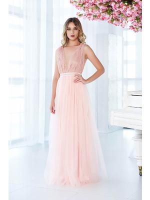 9369de38e2 Rózsaszínű LaDonna ruha alkalmi tüll csipkés anyagból gyöngyös díszítés  harang << lejárt 110213