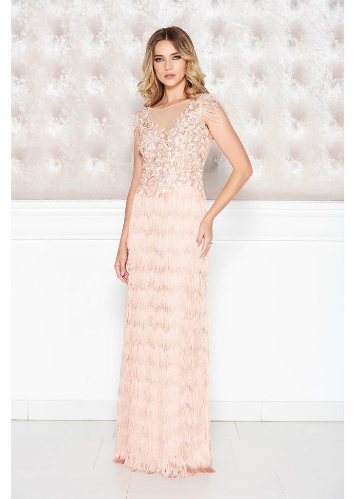 73015c80a Rózsaszínű LaDonna alkalmi ruha csipkés anyag rojtos szűk szabás mély