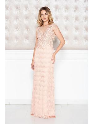 7458363f32 Rózsaszínű LaDonna alkalmi ruha csipkés anyag rojtos szűk szabás mély  dekoltázs << lejárt 772181