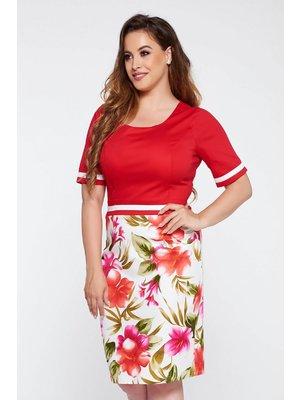 a986763f6a Piros elegáns ceruza ruha enyhén rugalmas anyag virágmintás díszítéssel
