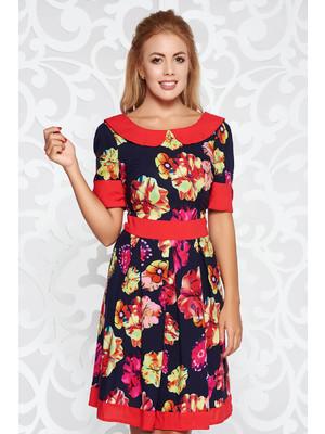 fb2930123c Piros irodai harang ruha nem rugalmas anyag virágmintás díszítéssel kerek  gallér << lejárt 800831