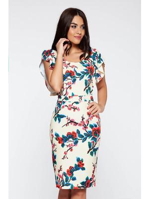 Elegáns krém ruha enyhén rugalmas anyag virágmintás díszítéssel szűk szabás     lejárt 158151 65b5bb09d3
