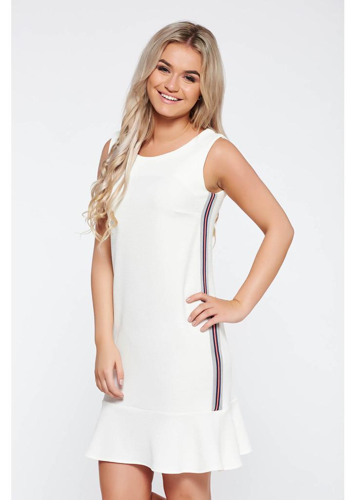 9371c0abe3 Fehér StarShinerS casual ruha egyenes szabás rugalmas anyag fodros -