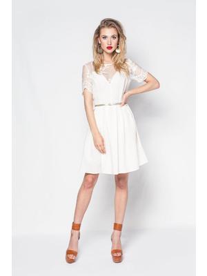 9bb6e2fe5f Bézs PrettyGirl hétköznapi vászon harang ruha csipkés anyag öv típusú  kiegészítővel << lejárt 852378