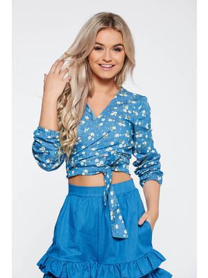 07587a27d9 Kék StarShinerS casual dekoltált női blúz nem elasztikus pamut virágmintás  díszítéssel