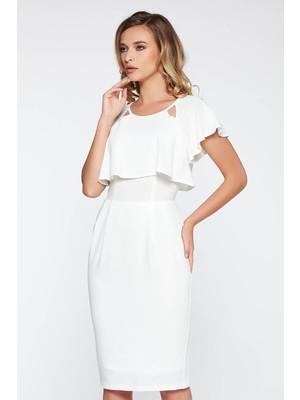 Fehér StarShinerS elegáns midi ruha puha anyag rugalmas anyag belső  béléssel fodros 85ceb19657