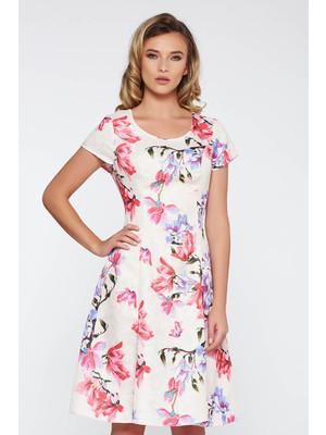 addc6f994ebd Bézs hétköznapi midi harang ruha nem rugalmas anyag virágmintás díszítéssel  << lejárt 384677