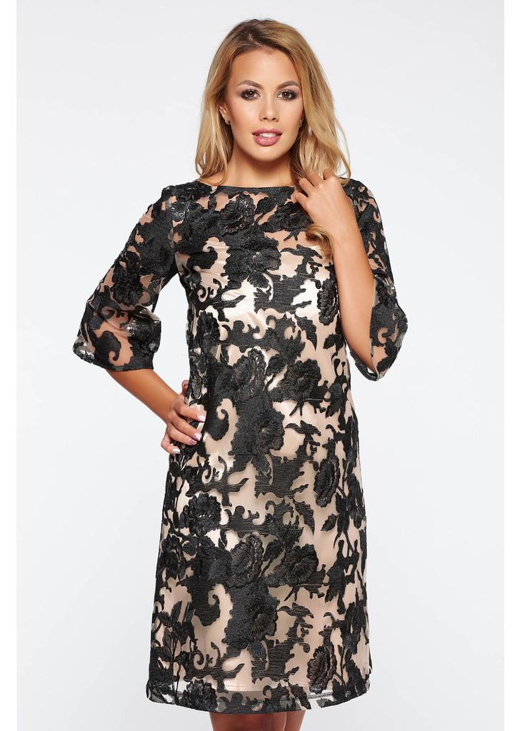 2bb8770ebb LaDonna fekete alkalmi a-vonalú rövid ruha csipkés anyag -