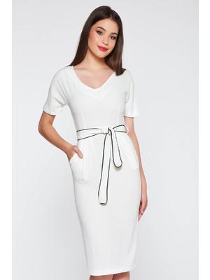 71c802d100 Fehér StarShinerS elegáns ruha szűk szabás puha anyag övvel ellátva <<  lejárt 720020