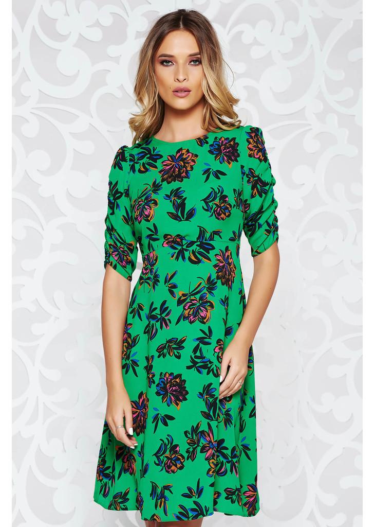 dbbae7fada Zöld StarShinerS casual harang ruha vékony anyag virágmintás