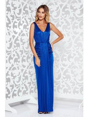 8def3f456d Kék alkalmi hosszú szirén tipusú ruha fényes anyag mély dekoltázs -