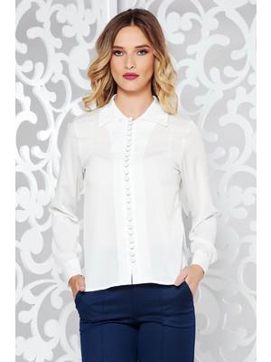 8210f66bbf Fehér irodai bő szabású női ing hosszú ujjakkal lenge anyagból << lejárt  63354
