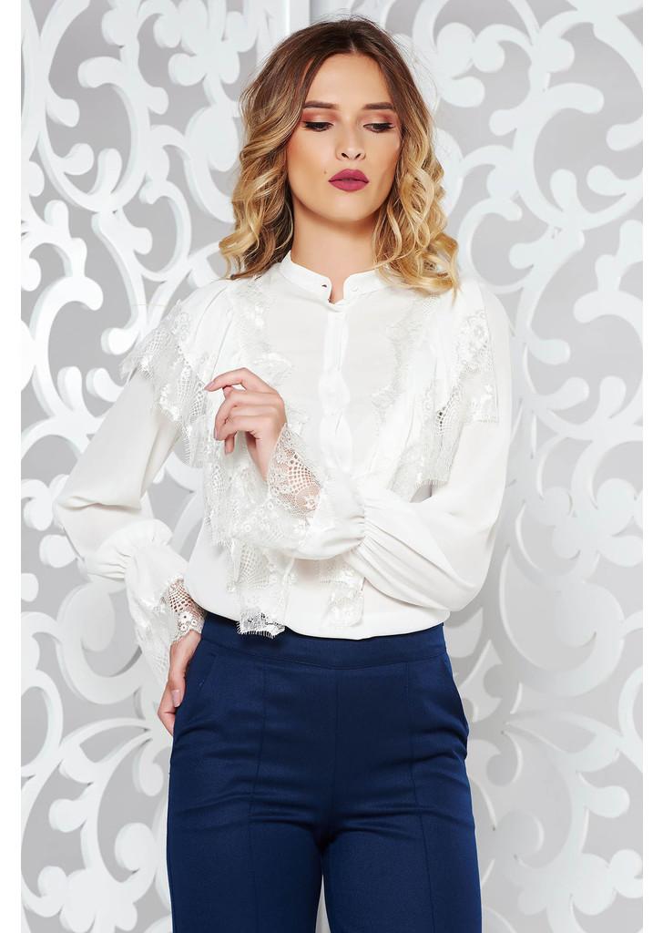 737b34fa45 Fehér elegáns bő szabású női ing fodros csipke díszítéssel -