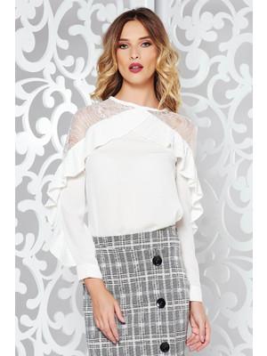 fbaea50a80 Fehér elegáns bő szabású női ing csipke díszítéssel fodros enyhén áttetsző  anyag << lejárt 255795