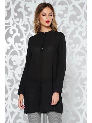 49fee7ca70 Fekete női ing elegáns bő szabású enyhén áttetsző anyag << lejárt 170554