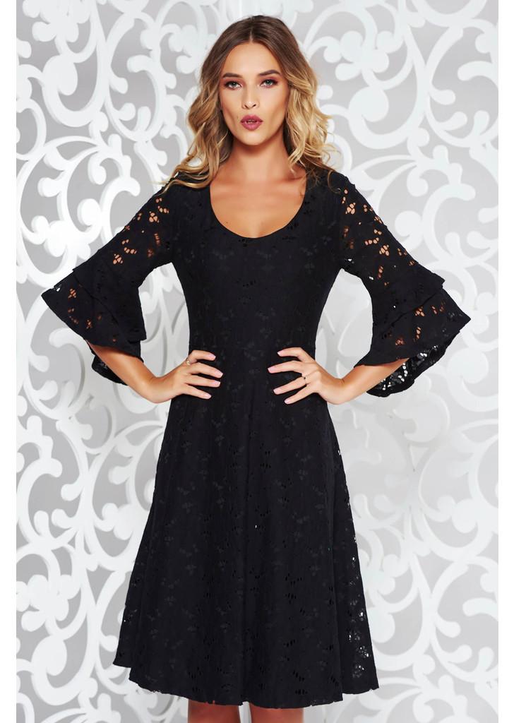 91e552384a Fekete StarShinerS elegáns harang ruha csipkés anyagból v-dekoltázzsal