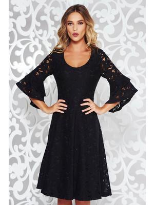 Fekete StarShinerS elegáns harang ruha csipkés anyagból v-dekoltázzsal  harang ujjakkal d1f5e97130