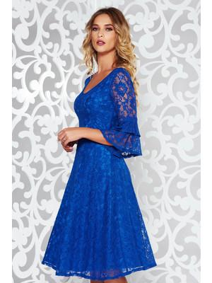 f1f0d6ad6c Kék StarShinerS elegáns harang ruha csipkés anyagból v-dekoltázzsal harang  ujjakkal << lejárt 470576