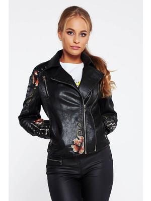 c1bea329b6 Fekete hétköznapi műbőr dzseki hímzett belső béléssel -