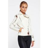 b14de4ccdb Fehér casual műbőr dzseki hímzett belső béléssel fémes szegecsekkel