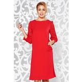 872258bc39 Piros elegáns a-vonalú ruha nem rugalmas anyag belső béléssel zsebekkel