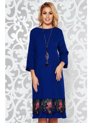 98ed4b0ad1 Kék elegáns bő szabású ruha enyhén elasztikus szövet csipke díszítéssel  lánccal