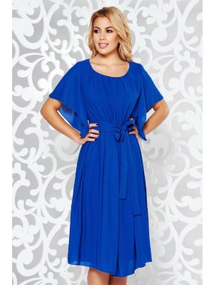 4cc7da50c1 Kék elegáns ruha derékban rugalmas fátyol anyag belső béléssel övvel  ellátva << lejárt 187989