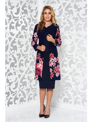892e2c8cf1 Sötétkék elegáns női kosztüm enyhén rugalmas anyag virágmintás díszítéssel  << lejárt 246324
