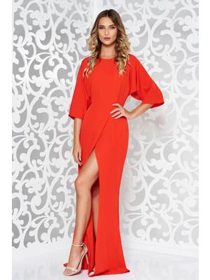 5cdfafcbf480 Piros alkalmi ruha enyhén rugalmas anyag finom tapintású anyag kivágott  hátrész