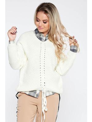 Fehér casual pulóver bő szabás v-dekoltázzsal kötött anyag - c0c4f46930