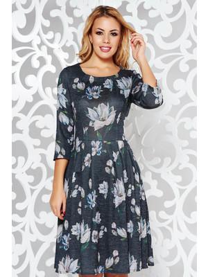 98533ec8c5 Fekete hétköznapi harang ruha kötött anyag virágmintás díszítéssel <<  lejárt 632868